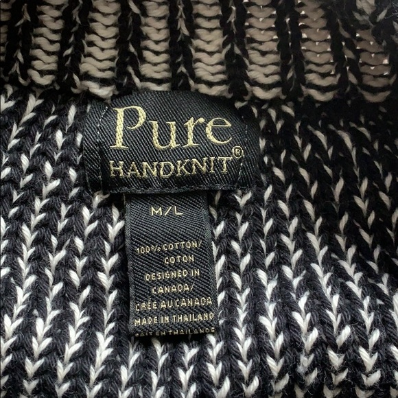 Pure Handknit Sweaters - Black and white unique short sweater